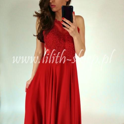 983a1e7f8519 Czerwona suknia wieczorowa maxi z odkrytymi plecami - LILITH