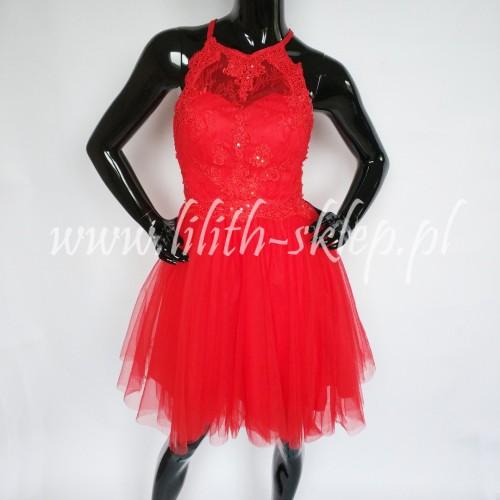 8a98ca0d153b Krótka sukienka czerwona z odkrytymi plecami - LILITH sklep