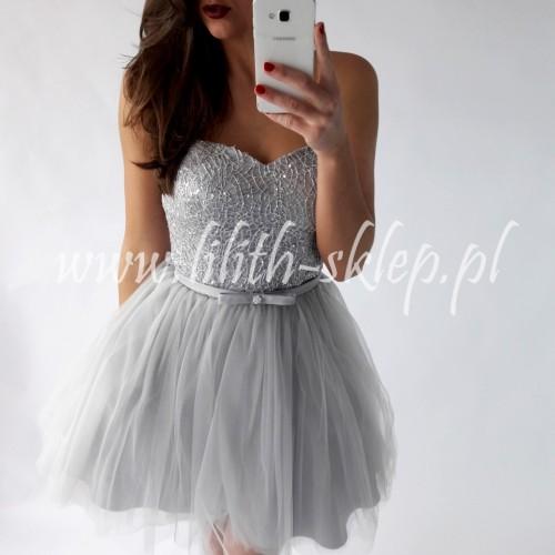 fe02310346 Sukienka wieczorowa w kolorze srebrno-szarym - LILITH sklep