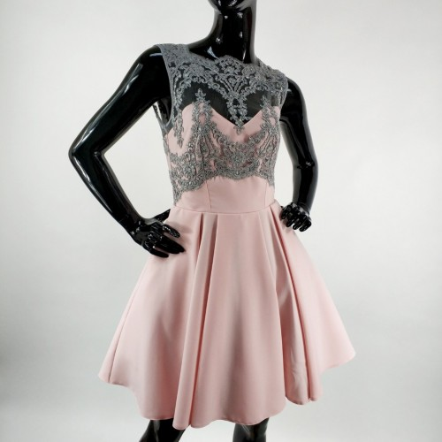 1cf79d2079 Sukienka z rozkloszowanym dołem i koronkową górą