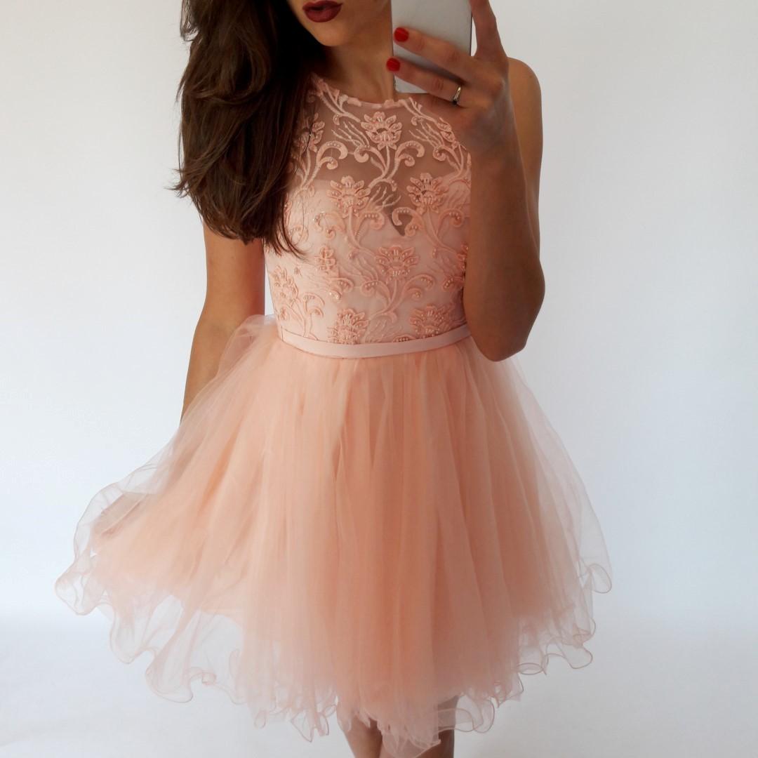Niewiarygodnie Sukienka tiulowa, rozkloszowana, pudrowy róż - LILITH sklep IU96