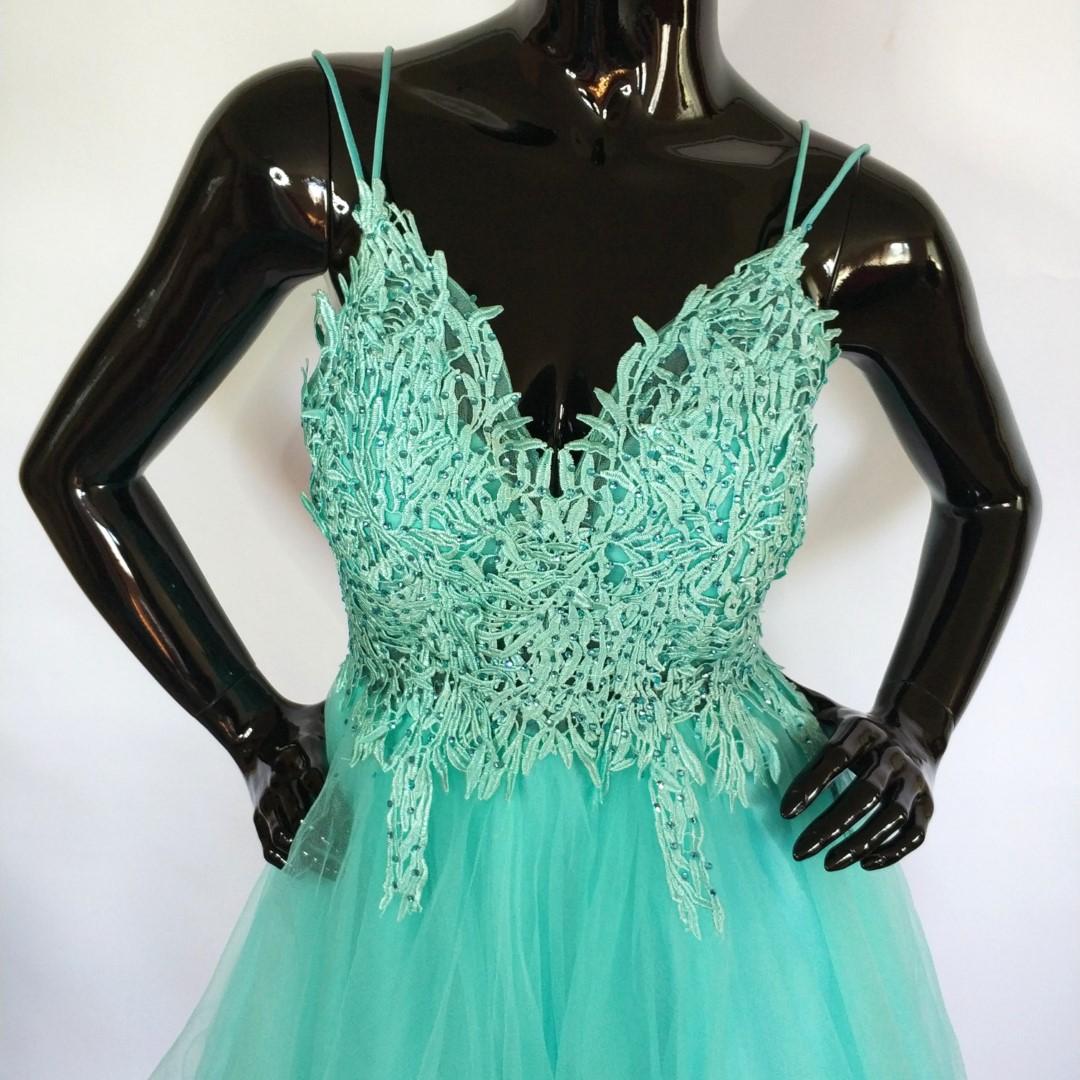Sukienka tiulowa, zdobiona, miętowa